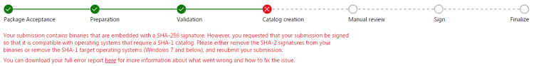 error in signature submission
