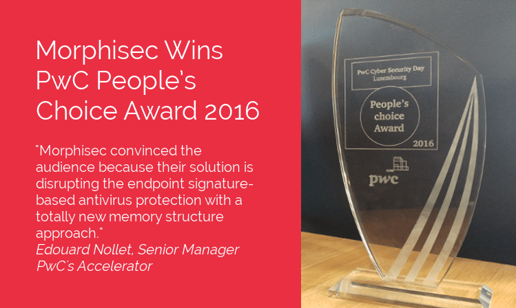 Morphisec Wins PwC People's Choice Award 2016