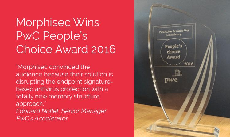 Morphisec Wins PwC People's Choice Award 2016